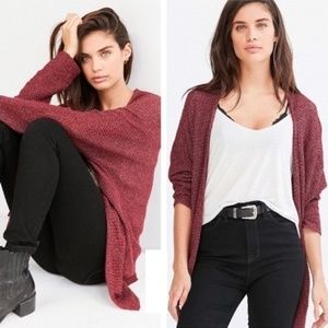 [BDG] Ivy Maroon Knit Slouchy Open Front Cardigan